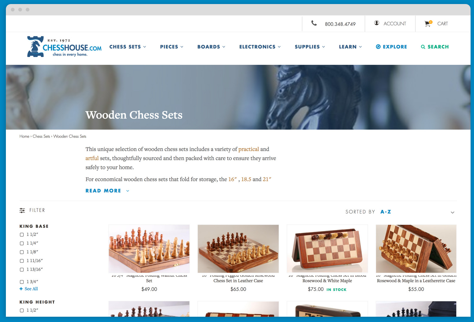 Chess House Browser Category Page Mock Up
