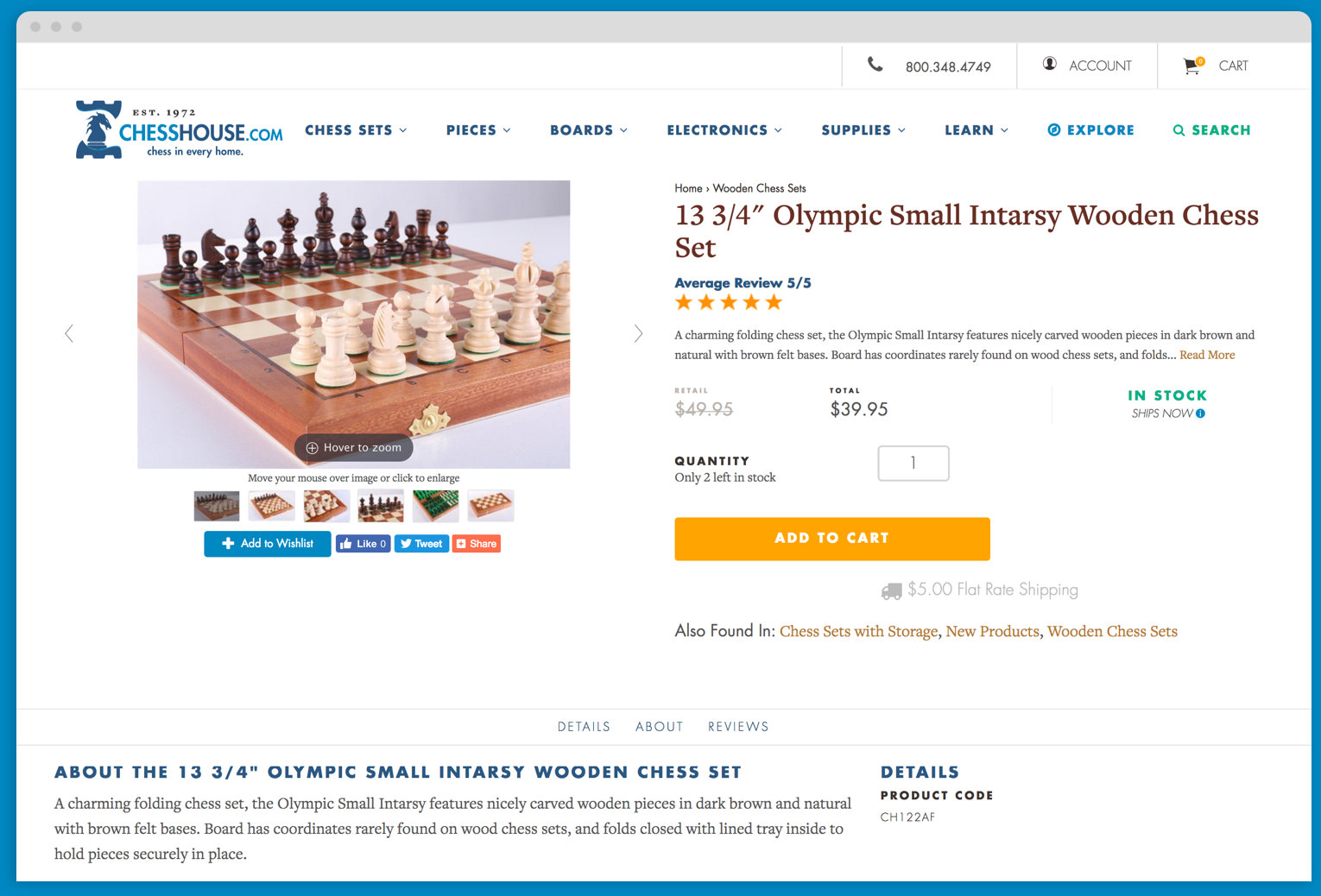 Chess House Browser Product Detail Page Mock Up