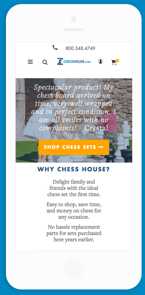 Chess House Mobile Homepage Mock Up