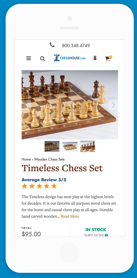 Chess House Mobile PDP Mock Up