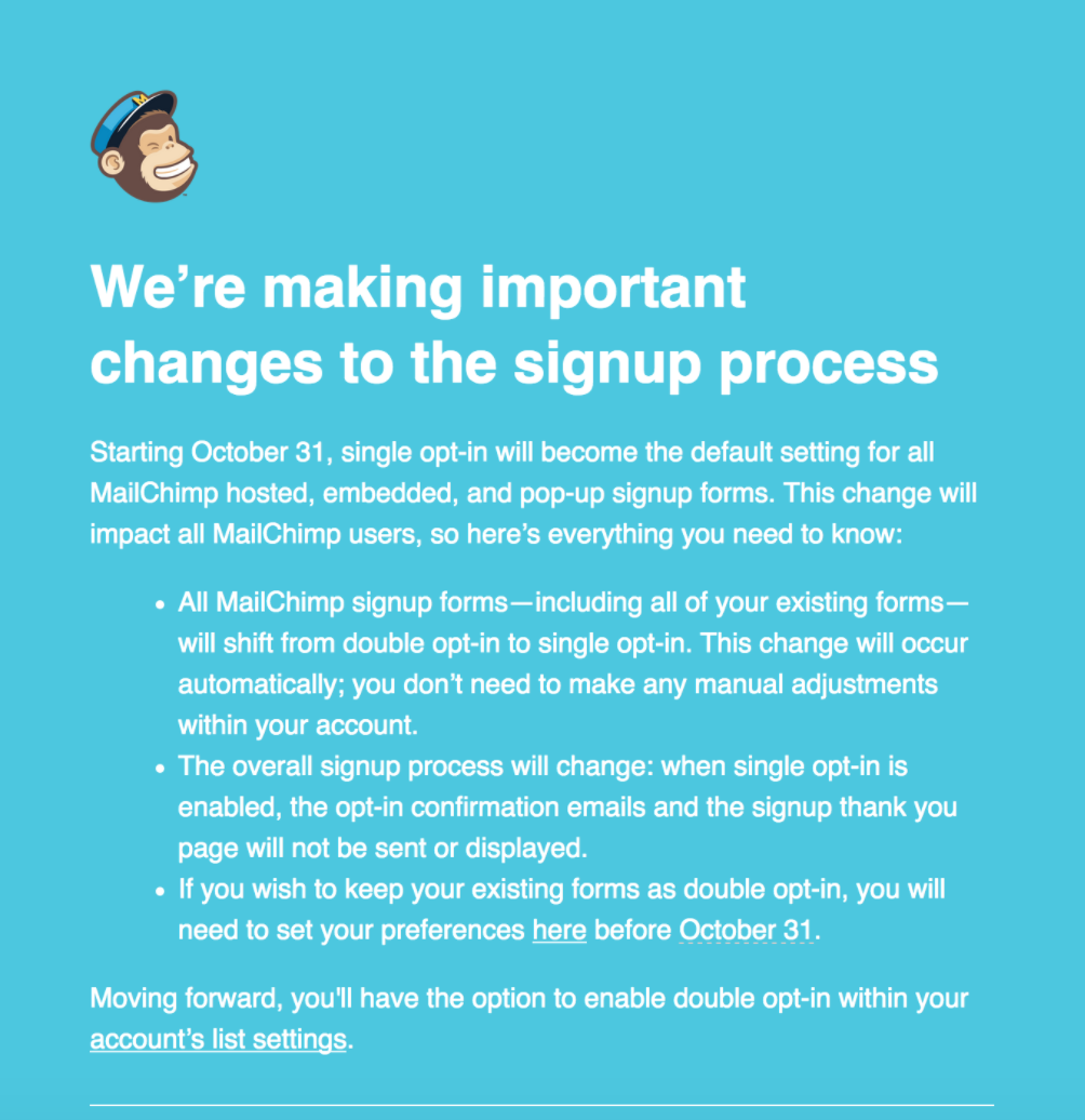 Mailchimp Single Opt-in
