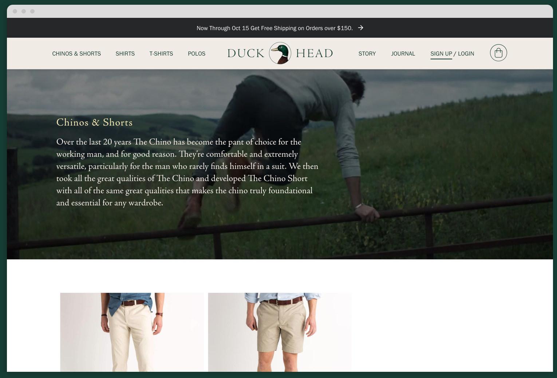 Duck Head Desktop Category Page Mock Up