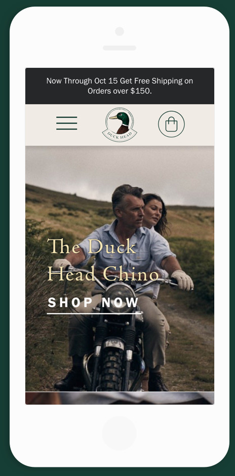 Duck Head Mobile Homepage Mock Up