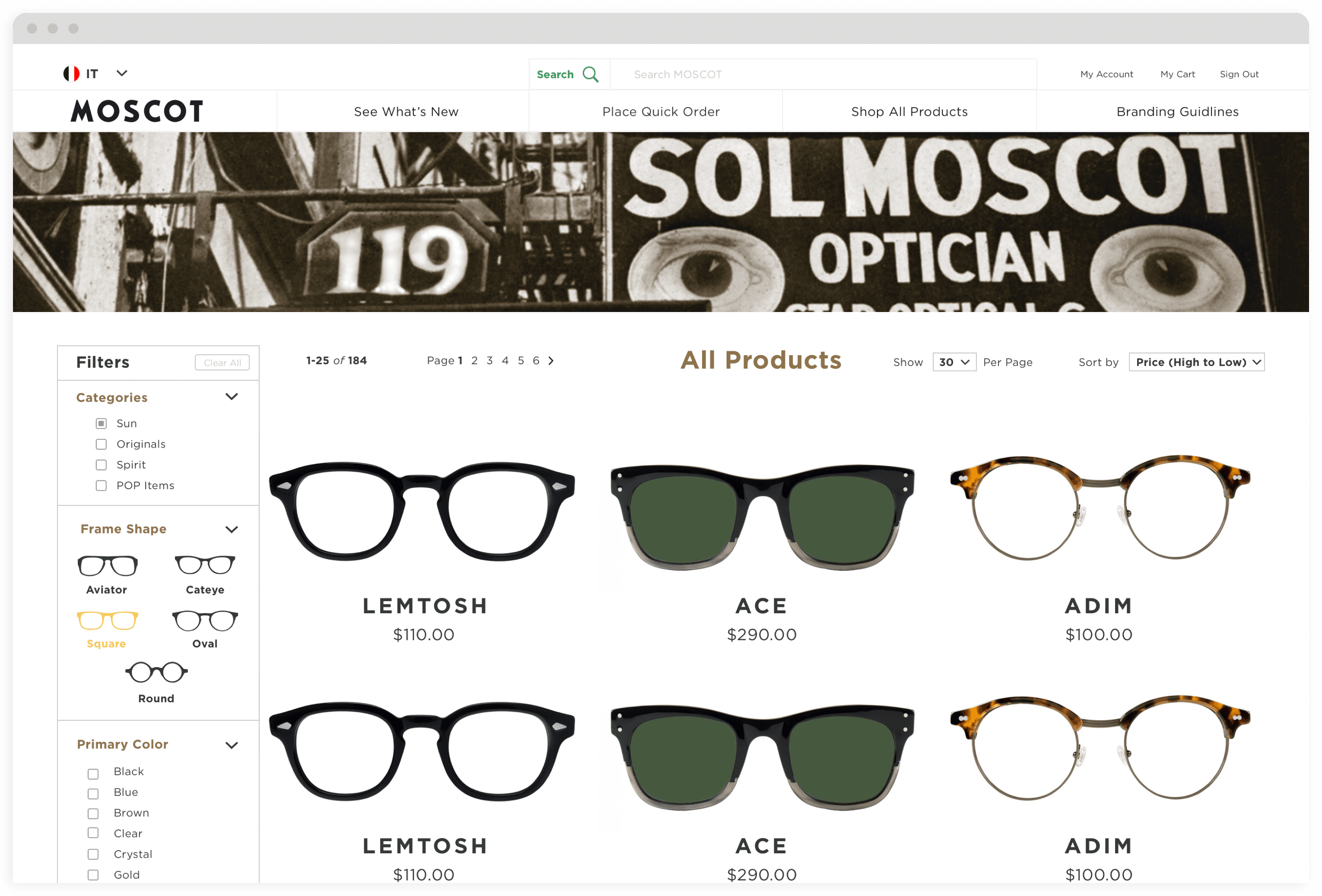 MOSCOT B2B Desktop Category Page