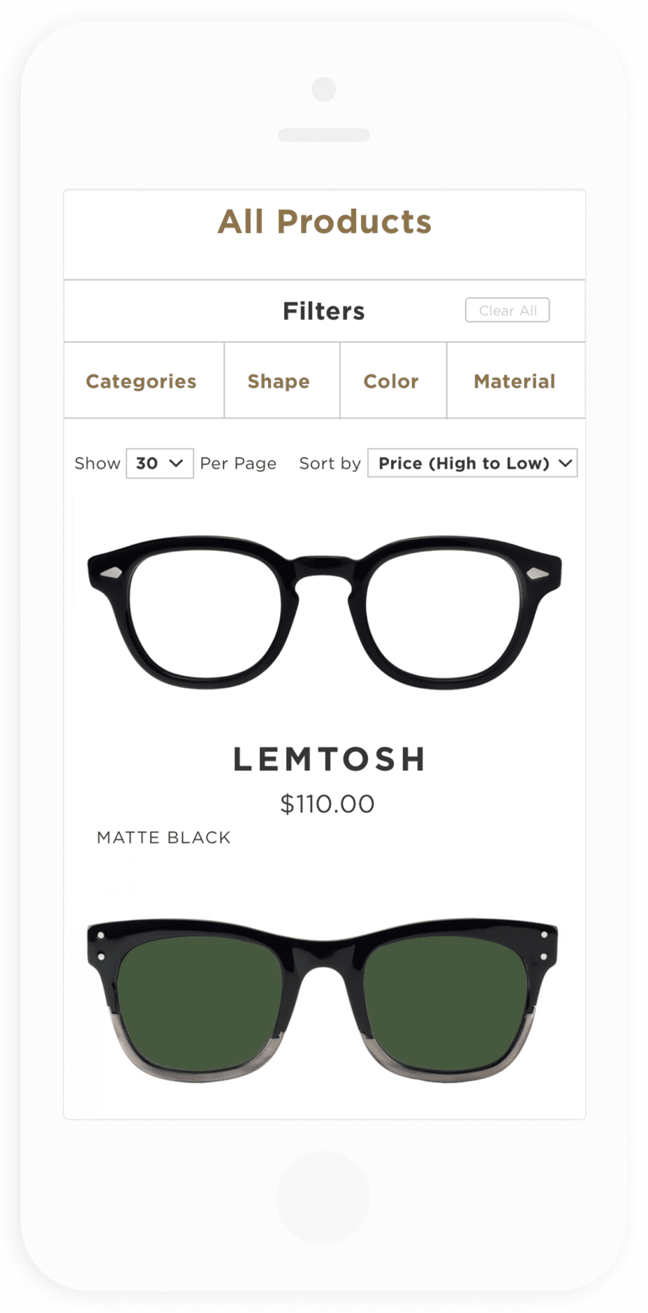 MOSCOT B2B Category Page Mobile