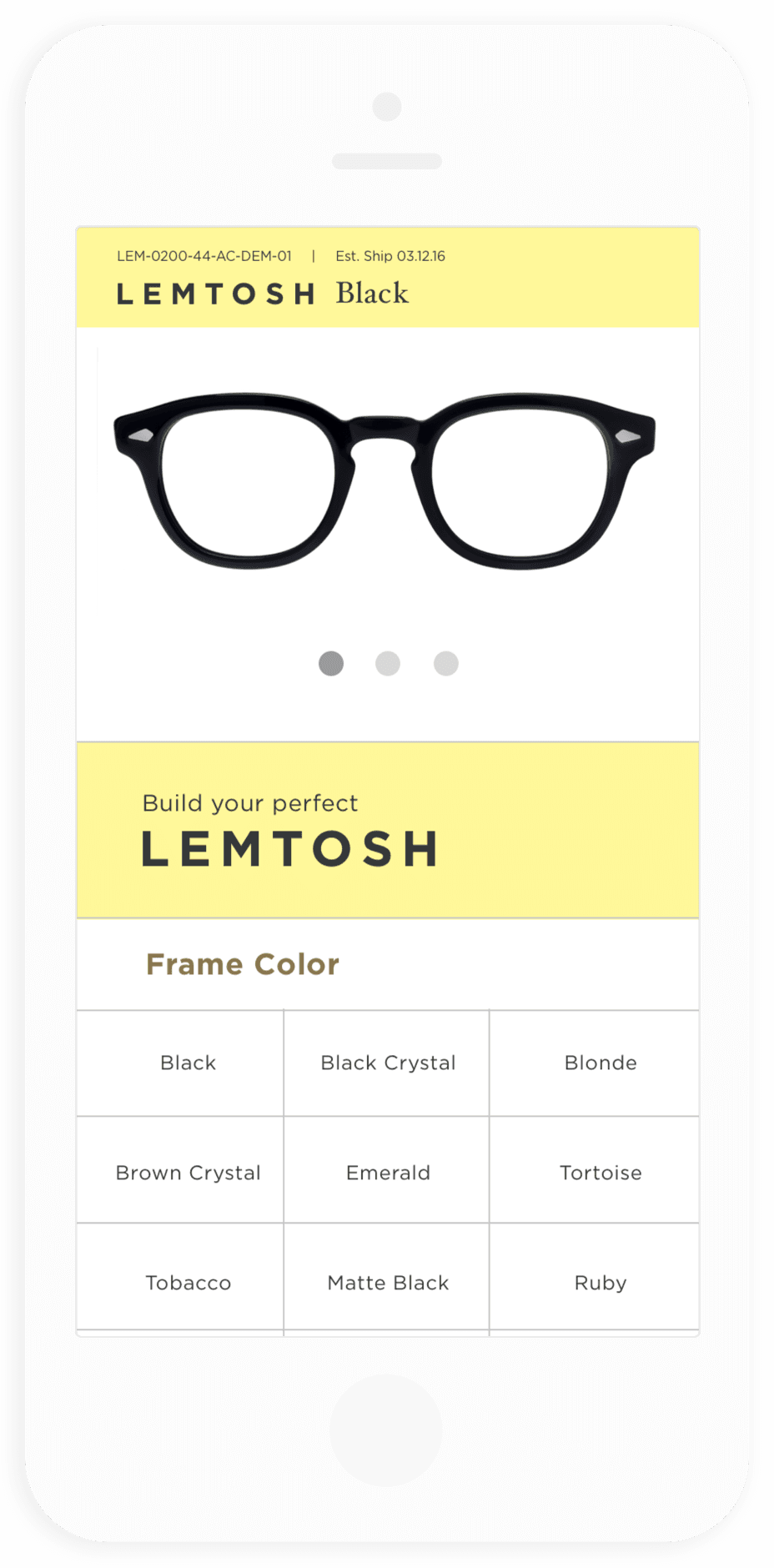 MOSCOT B2B PDP Mobile Mock Up
