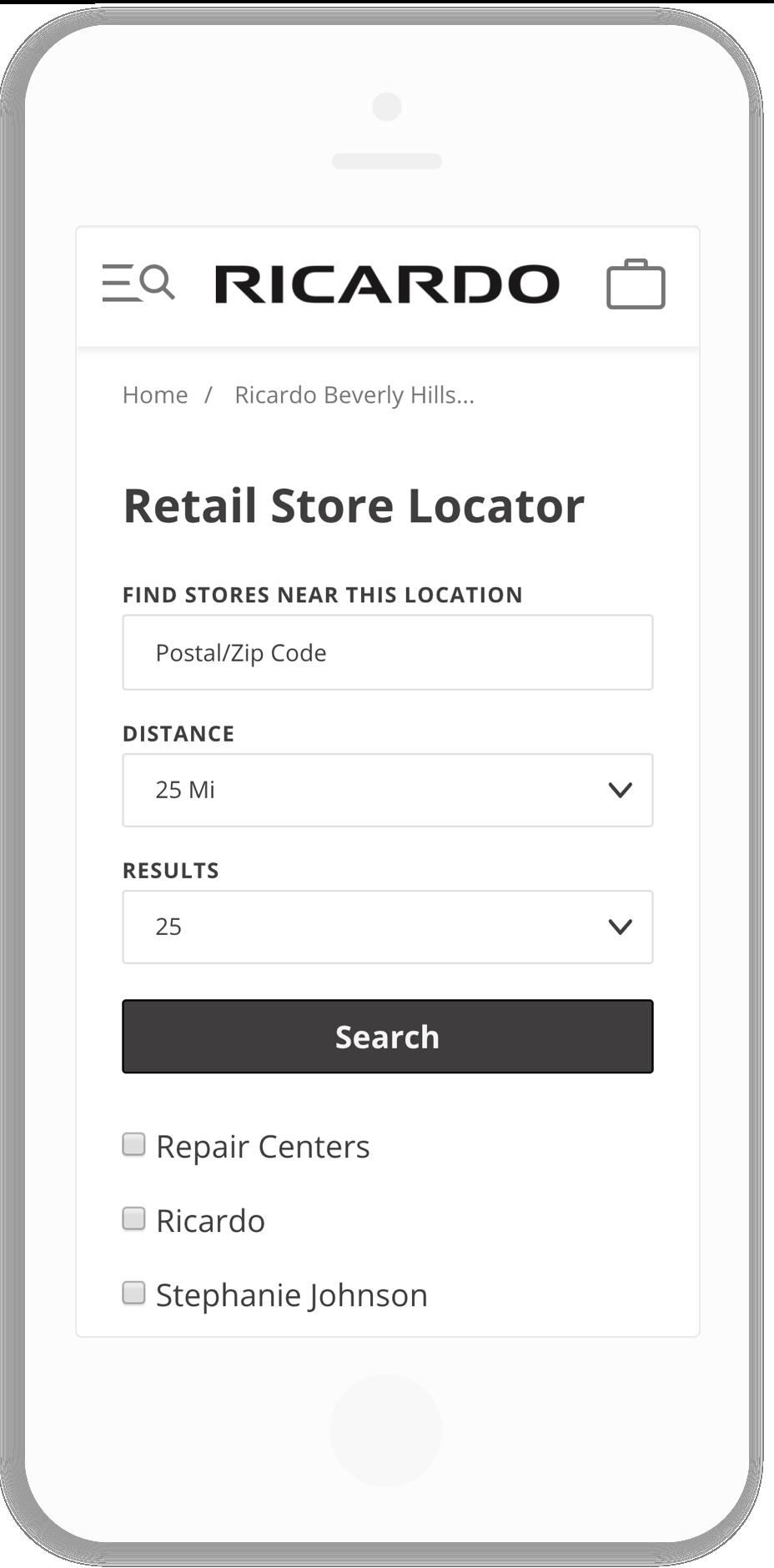 Ricardo Beverly Hills Store Locator Mobile